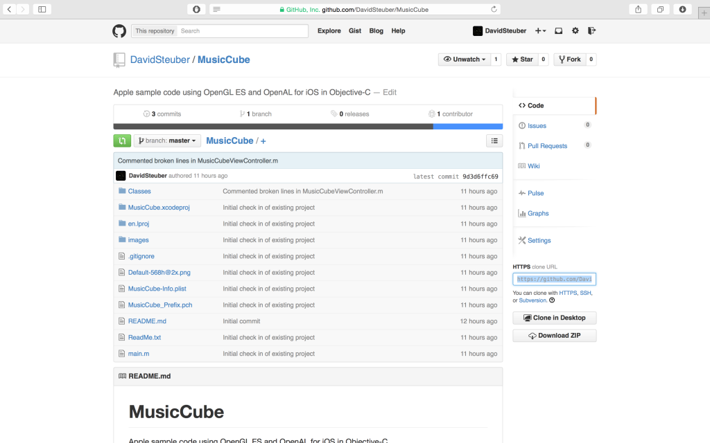 Apple's MusicCube example project  on GitHub