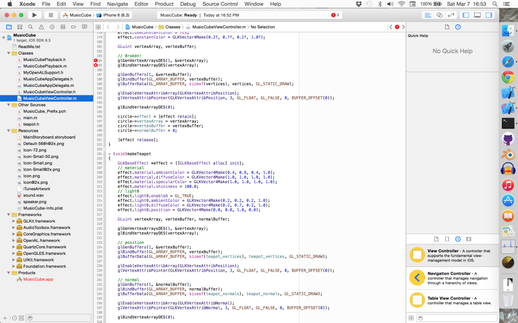 Apple's MasicCube Code Example in Xcode